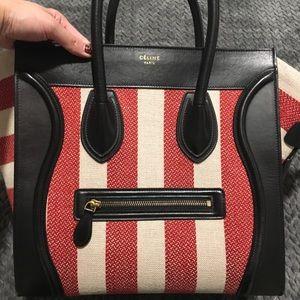 Canvas Stripped Celine Luggage Mini